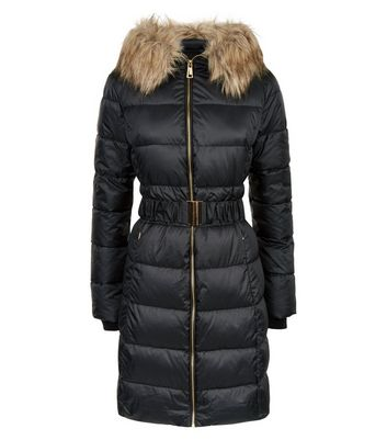 Black Belted Longline Puffer Jacket New Look
