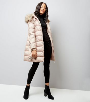 Shell Pink Belted Longline Puffer Jacket New Look