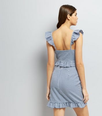 Blue Gingham Check Frill Trim Mini Skirt New Look