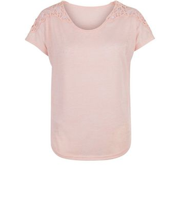 Apricot Pink Marl Crochet Lace Shoulder Top New Look