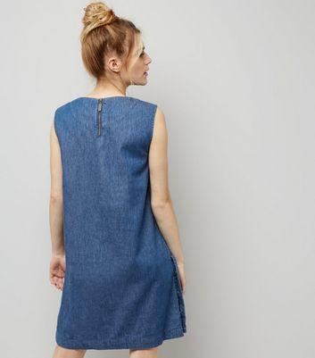Apricot Blue Popper Side Trim Single Pocket Shift Dress New Look