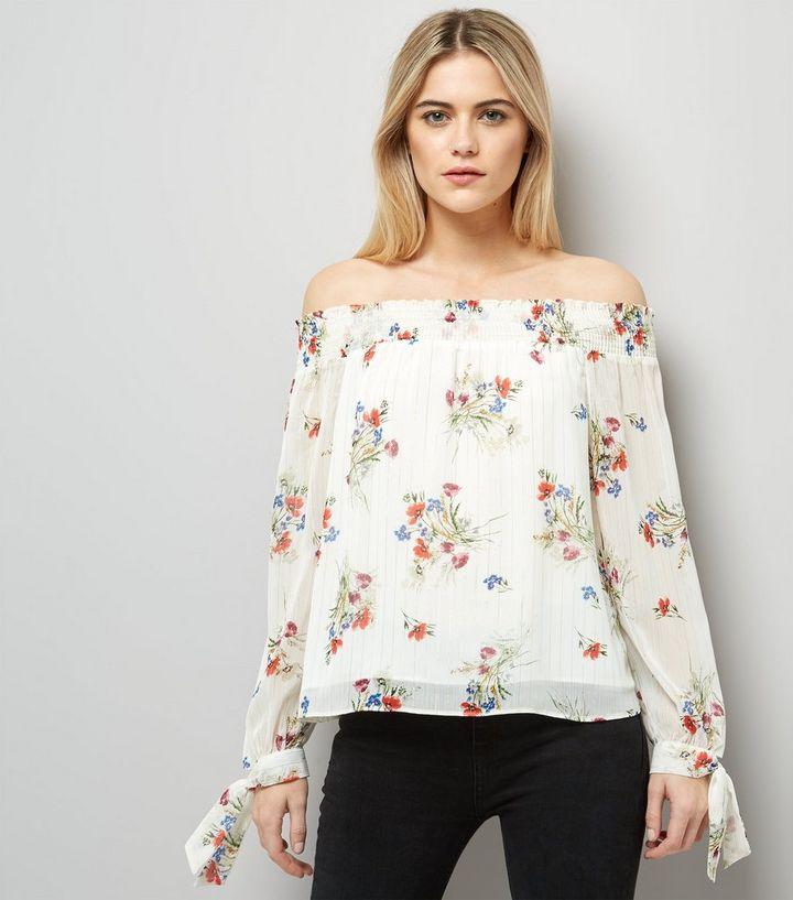 01fc2f7bbbf22e White Floral Print Bardot Tie Sleeve Top