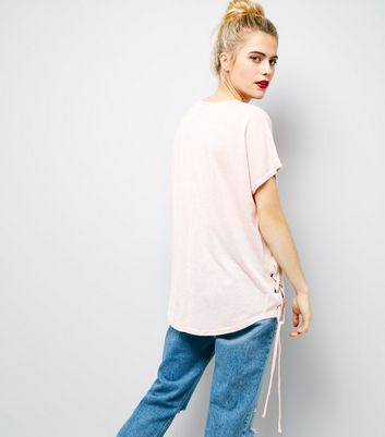 Pink Eyelet Lace Up Side T-Shirt New Look