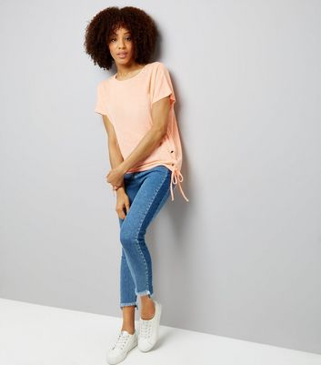 Coral Eyelet Lace Up Side T-Shirt New Look