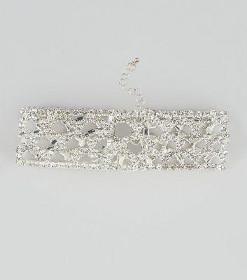Silver Diamante Wide Choker New Look