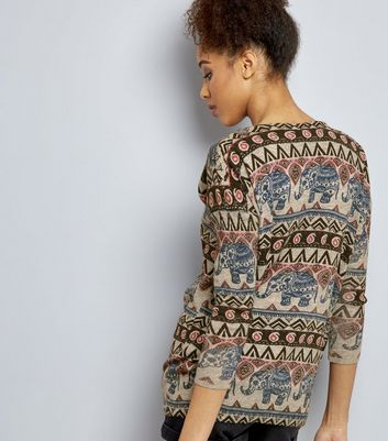 Mela Pale Grey Aztec Print Jumper New Look