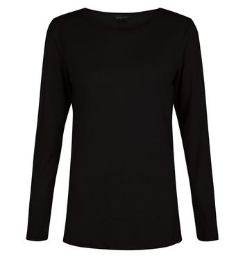 Black Crew Neck Long Sleeve Top New Look
