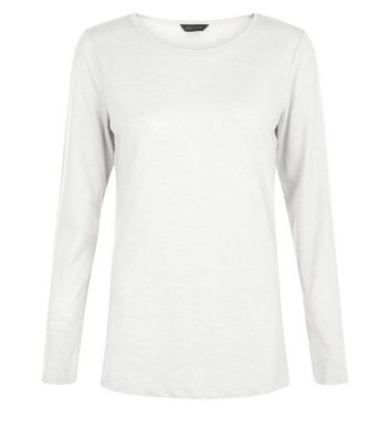White Crew Neck Long Sleeve T-Shirt New Look