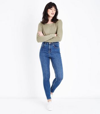 Olive Green Crew Neck Long Sleeve T-Shirt New Look