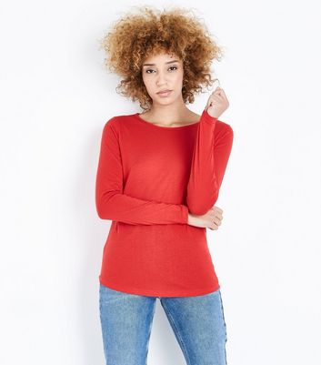 Red Crew Neck Long Sleeve Top New Look