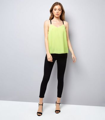 Neon Green Lace Back Cami Top New Look
