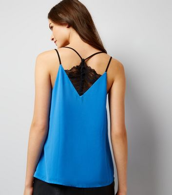 Blue Lace Back Cami Top New Look