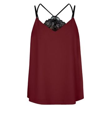 Red Lace Back Cami Top New Look