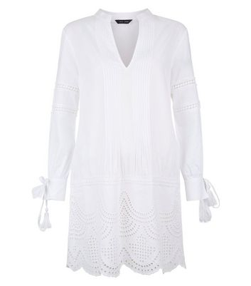 White Cut Out Tunic Dress New Look