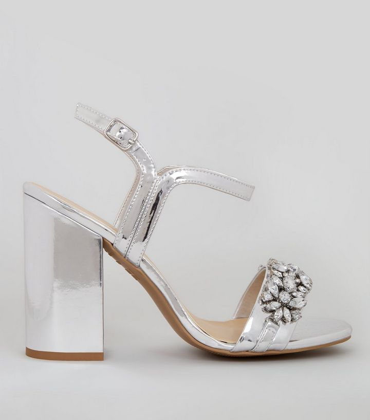 d7901e52d60ffd Silver Embellished Block Heel Sandals | New Look