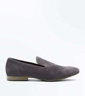 Grey Suedette Loafers New Look