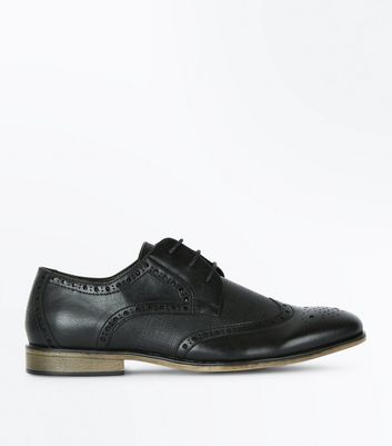Black Perforated Brogues New Look