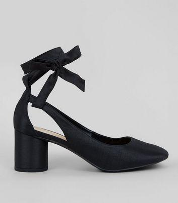 black tie ankle heels