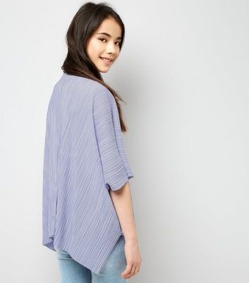 Teens Lilac Pleated Kimono New Look