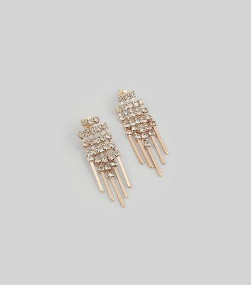 Gold Crystal Chain Stud Earrings New Look