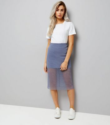 Petite Lilac Sheer Pleated Layered Midi Skirt New Look