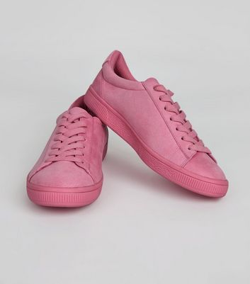 Bright Pink Suedette Coloured Sole Trainers New Look