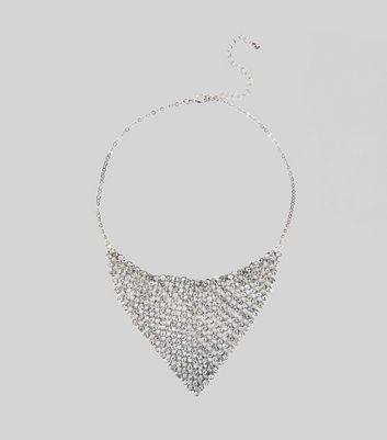 Silver Stone Chainmail Necklace New Look