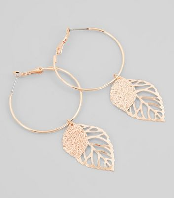 Rose Gold Leaf Charm Hoop Earrings New Look