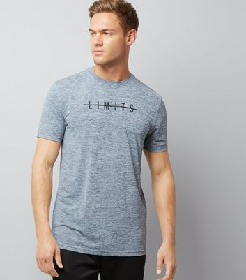 Grey Marl Limits Slogan Sports T-Shirt New Look