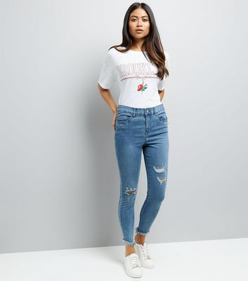 Petite Blue Ripped Knee Skinny Jeans New Look