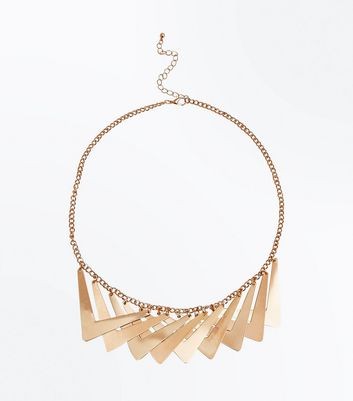 Gold Overlapping Geometric Necklace New Look
