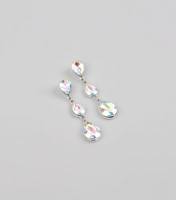 Silver Iridescent Stone Drop Earrings New Look