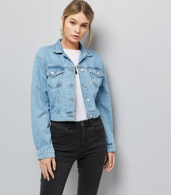 Blue Cropped Denim Jacket New Look