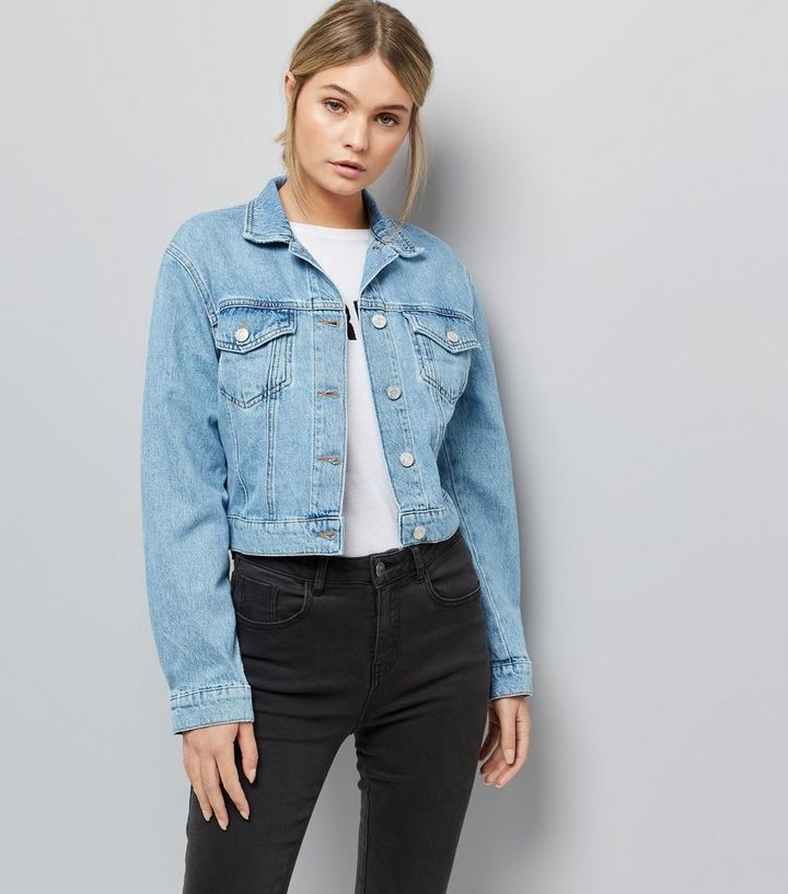 0a6e77e84b0a1 Blue Cropped Denim Jacket