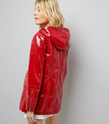 Red Patent Anorak New Look