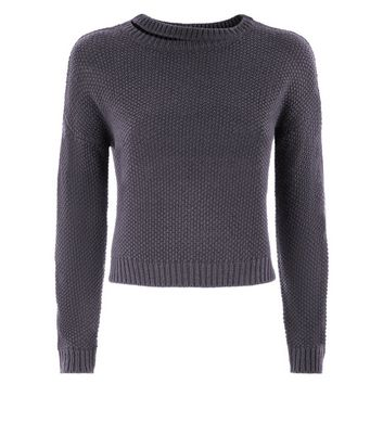 Teens Dark Grey Cut Out Neck Knit Jumper New Look