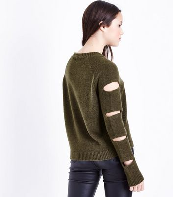 Teens Khaki Cut Out Sleeve Jumper New Look