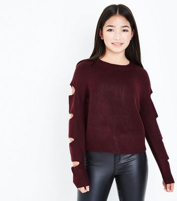 Teens Burgundy Cut Out Sleeve Jumper New Look