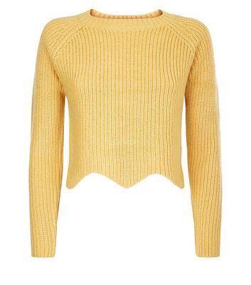Teens Mustard Scallop Hem Jumper New Look