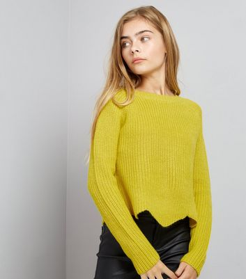 Teens Yellow Scallop Hem Jumper New Look