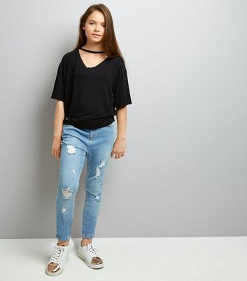 Teens Black Choker Neck T-Shirt New Look