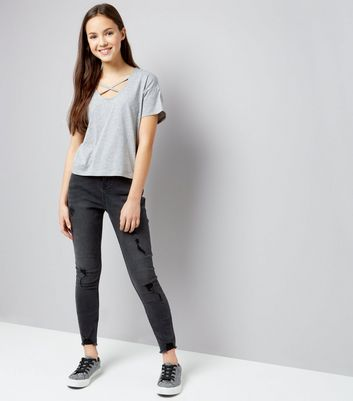 Teens Grey Cross Strap Front T-Shirt New Look