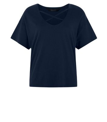 Teens Navy Cross Strap Front T-Shirt New Look