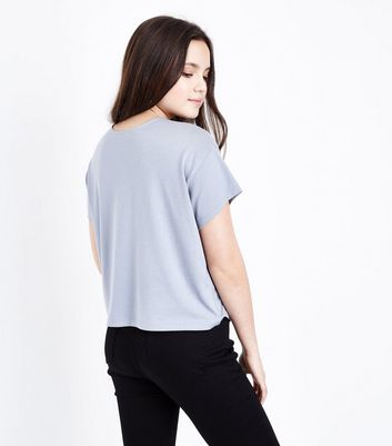 Teens Pale Blue Cross Strap Front T-Shirt New Look