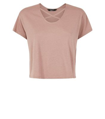 Teens Mid Pink Cross Strap Front T-Shirt New Look