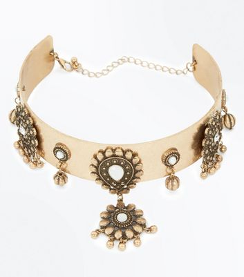 Gold Metallic Embellished Statement Choker New Look