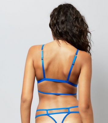 Blue Floral Embroidered Satin Bralet New Look