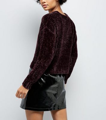 Burgundy Chenille Cropped Jumper New Look