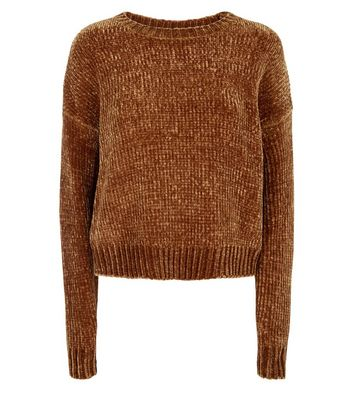 Yellow Chenille Cropped Jumper New Look