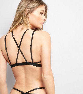 Black Lace Fishnet Strappy Bralet New Look